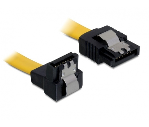 DELOCK Cable SATA down/straight metal yellow 10cm (82469)