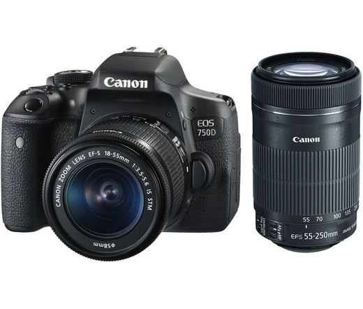 CANON EOS 750D + EF-S 18-55mm f/3.5-5.6 IS STM + EF-S 55-250mm f/4-5.6 IS STM kit