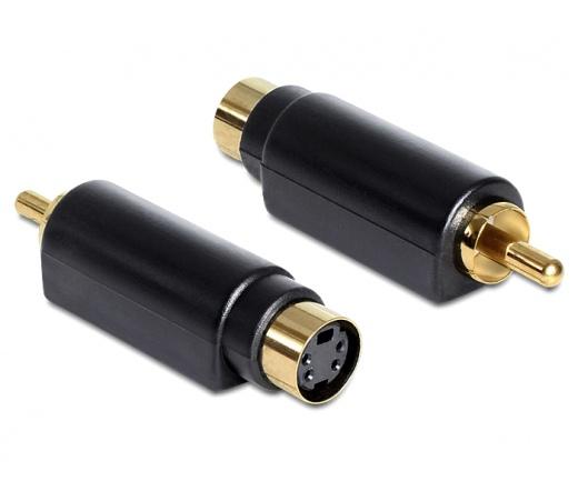DELOCK Adapter S-Video mini DIN female 4 pole > 1 x RCA male