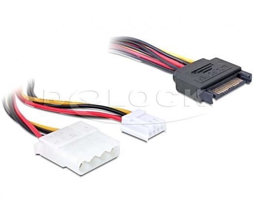 DELOCK Cable Y- Power SATA male 15pin -> 4pin Molex female + 3,5 floppy (65227)