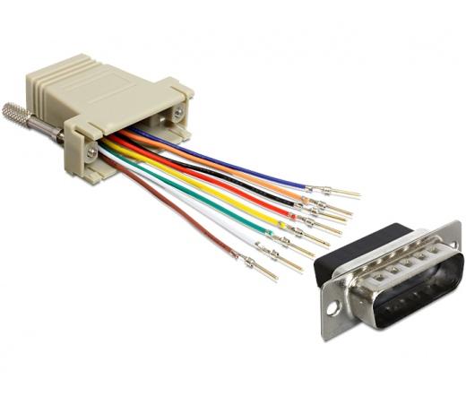 DELOCK Adapter Sub-D 15 Pin male > RJ45 female assembly kit