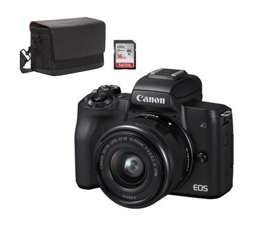 CANON EOS M50 + EF-M 15-45mm + SB130 + 16Gb Kit fekete