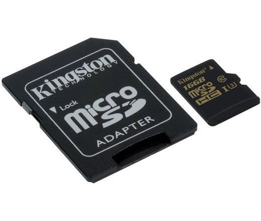Card MICRO SD Kingston 16GB Gold UHS-I Class3 + 1 Adapter