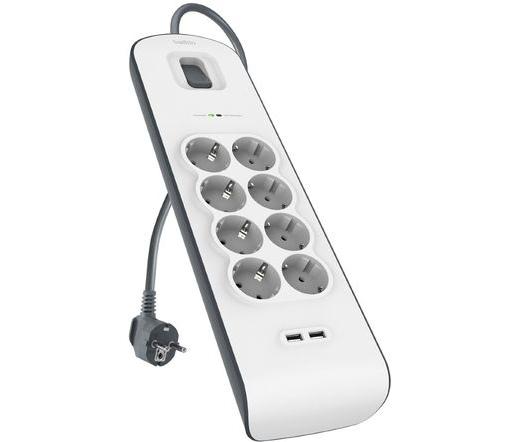 Belkin Sorge Plus 8-fold incl. 2 x USB 2,4A túlfeszvédő