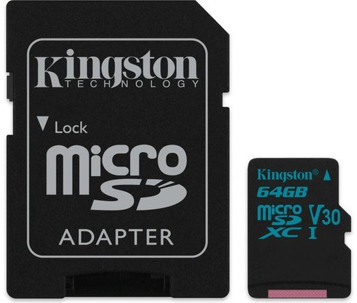 Card MICRO SD Kingston 64GB Canvas Go! UHS-I U3 CL10 + Adapter