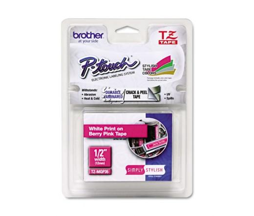 BROTHER P-touch TZe-MQP35 matt szalag (fehér/pink)