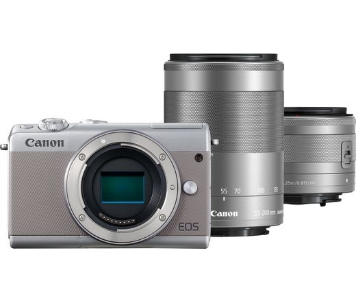 CANON EOS M100 + 15-45mm + 55-200mm Kit szürke