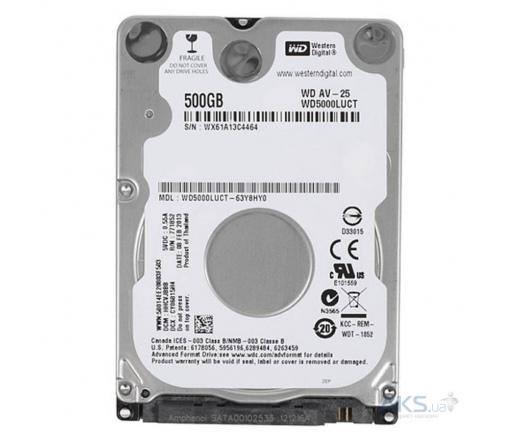 NOTEBOOK WD 500GB 5400RPM 16MB SATA II AV-25 WD500...