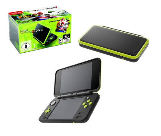 KON New Nintendo 2DS XL Black&Lime Green+MK7