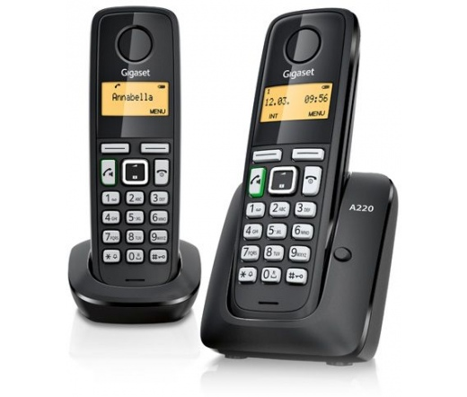 TEL GIGASET ECO DECT Telefon A220 DUO fekete