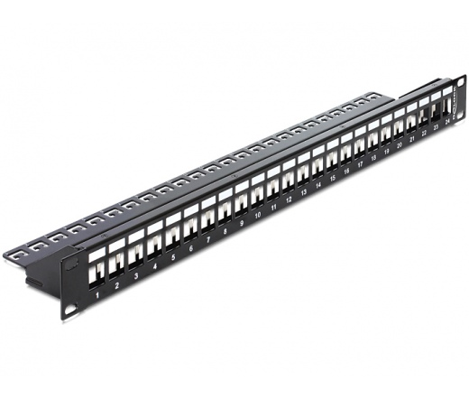 """Delock 19"""""""" Keystone Patch Panel 24 Port with strain relief"""