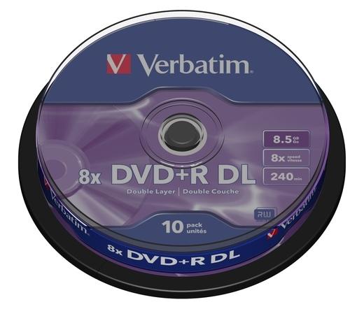 DVD+R VERBATIM 8,5GB 8X DOUBLE LAYER CAKE*10 43666
