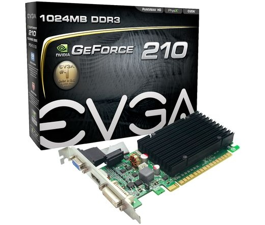 VGA EVGA PCIE GF 210 1024MB DDR3 DVI HDMI VGA - passive