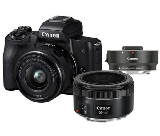 CANON EOS M50 + EF-M 15-45mm + EF 50mm f/1.8 + adapter Kit fekete