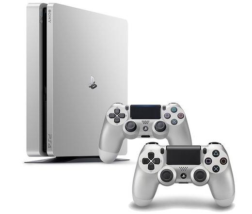 SONY PS4 Slim Konzol 500 ezüst gép 2 kontollerrel - limitált