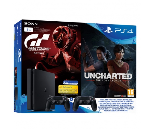 SONY PS4 Slim 1TB+ Gran Turismo Sport + Uncharted: The Lost Legacy + 2db Dualshock 4