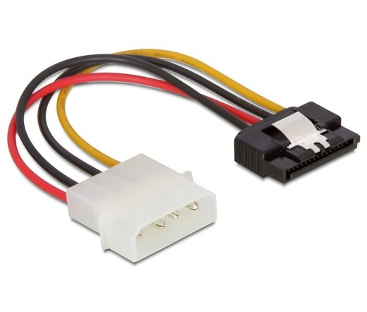 DELOCK Cable Power SATA HDD > Molex 4 pin male with metal clip - straight (60120)