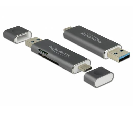 FLC Delock 91499 Kártyaolvasó USB-C, USB-A 3.1 Gen 1 > SD / MMC + Micro SD