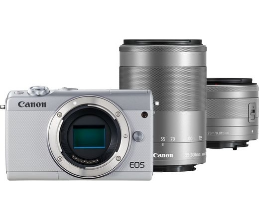 CANON EOS M100 + 15-45mm + 55-200mm Kit fehér