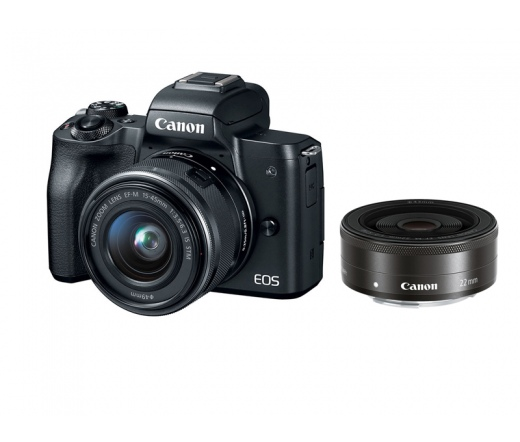CANON EOS M50 + EF-M 15-45mm + EF-M 22mm Kit fekete
