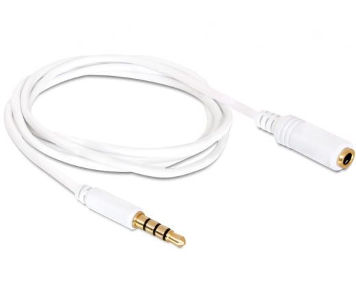 Delock Extension Cable Audio Stereo Jack 3.5 mm male / female IPhone 4 pin 0,5 m