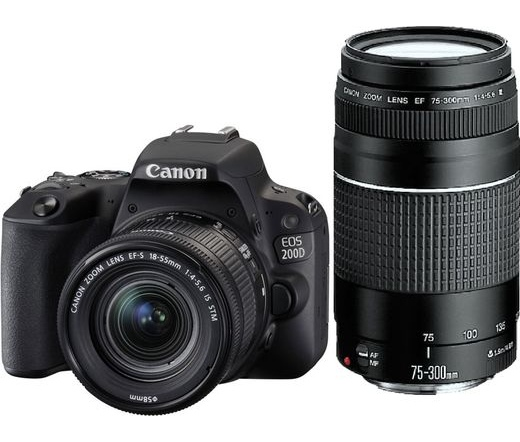 CANON EOS 200D + EF-S 18-55mm f/4-5.6 IS STM + EF 75-300 f/4-5.6 III kit fekete