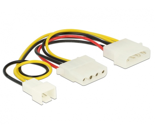 Delock Power Cable 4 pin male > 1 x 4 pin female + 1 x 3 pin male (fan) 14 cm (83658)