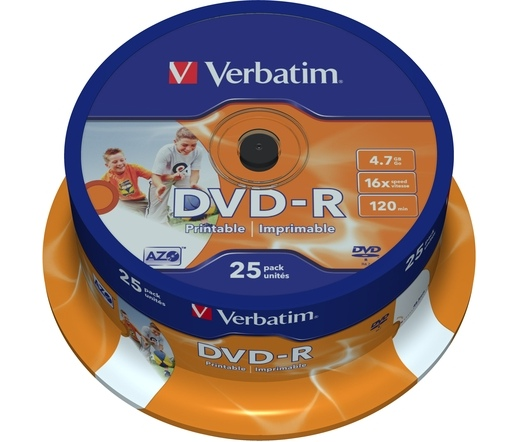 VERBATIM DVD-R 4,7GB 16X PRINTABLE FULL ID BRAND CAKE*25  43538
