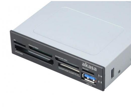CARD READER AKASA AK-ICR-07 6-Port 3,5 with USB 3.0 - Fekete/Fehér (külső USB3.0)