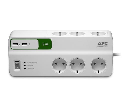 APC PM6-GR SurgeArrest / PROTECTOR / túlfeszültségvédő elosztó, 1,8 méteres, 5 DIN, 2 USB