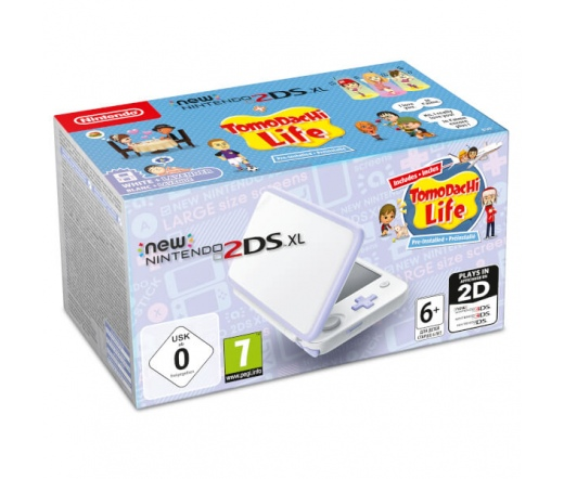 KON New Nintendo 2DS XL White&Levander+Tomodachi