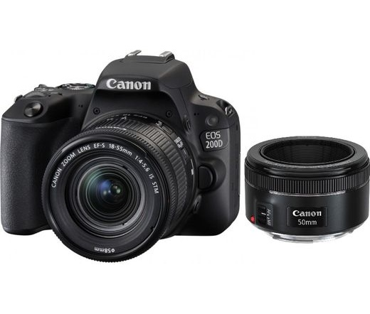 CANON EOS 200D + EF-S 18-55mm f/4-5.6 IS STM + EF-S 50mm f/1.8 STM kit fekete