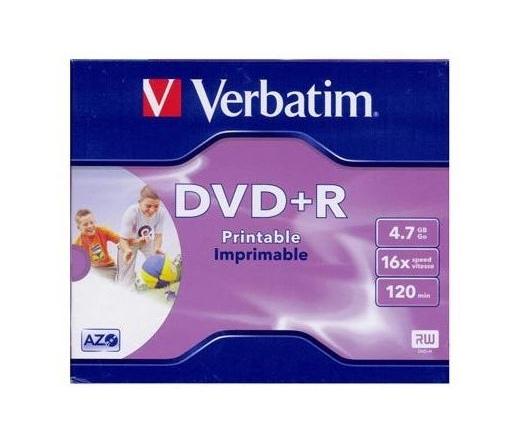 VERBATIM DVD+R 4,7GB 16X PRINTABLE FULL ID BRAND JEWEL  43508