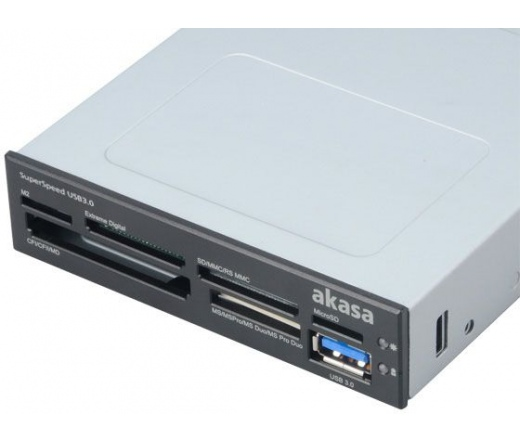 """CARD READER AKASA AK-ICR-14 Superspeed USB 3.0 6-Port 3,5"""" - Fekete/Fehér (külső USB3.0)"""