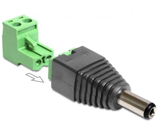 DELOCK Adapter DC 2.1 x 5.5 mm male > Terminal Block 2 pin 2-part (65422)